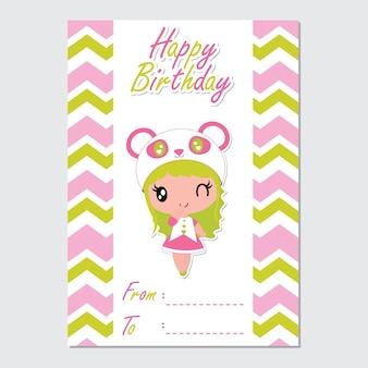 Carte d'anniversaire de dessin animé mignon panda fille sourit
