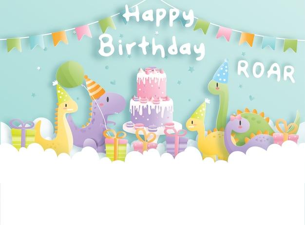 Carte d'anniversaire avec dinosaure mignon et coffrets cadeaux.