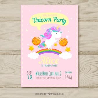 Carte d'anniversaire de fête de licorne