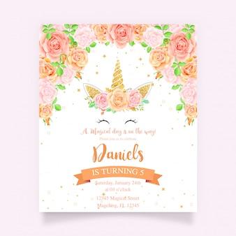Carte d'anniversaire avec floral et licorne