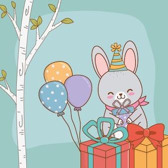 Carte d'anniversaire avec forêt de lapin mignon