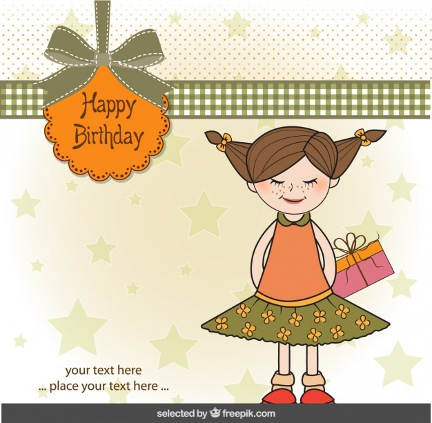 Carte d'anniversaire heureux avec mignonne petite fille