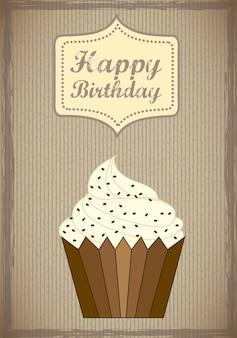 Carte d'anniversaire avec illustration vectorielle de coupe gâteau style vintage