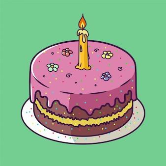 Carte d'anniversaire joyeux anniversaire avec petit gâteau et une bougie dans un style design lumineux