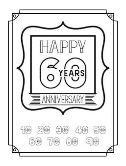 Carte d'anniversaire joyeux avec des décennies