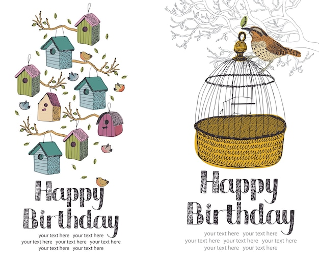 Carte d'anniversaire joyeux oiseaux