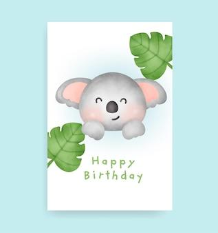 Carte d'anniversaire avec un koala mignon dans un style aquarelle