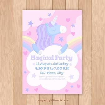 Carte d'anniversaire avec une licorne magique