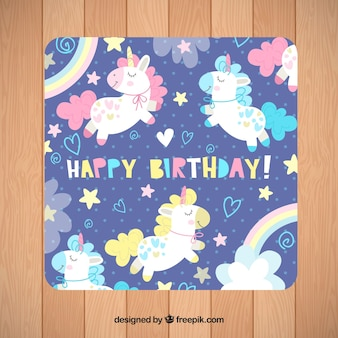 Carte d'anniversaire avec des licornes