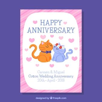Carte d'anniversaire de mariage avec des chats mignons