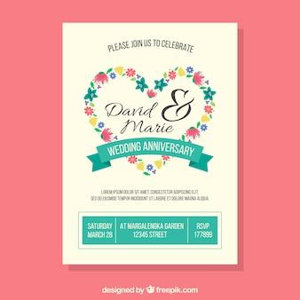 Carte d'anniversaire de mariage avec coeur de fleurs