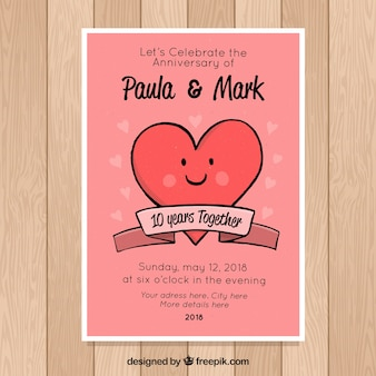 Carte d'anniversaire de mariage avec coeur mignon