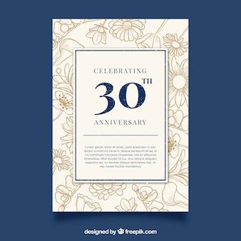 Carte d'anniversaire de mariage dans le style vintage