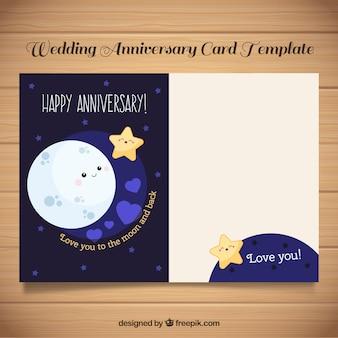 Carte d'anniversaire de mariage avec la lune et les étoiles mignonnes