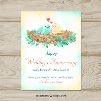 Carte d'anniversaire de mariage avec des oiseaux mignons