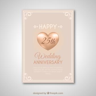 Carte d'anniversaire de mariage avec des ornements d'or
