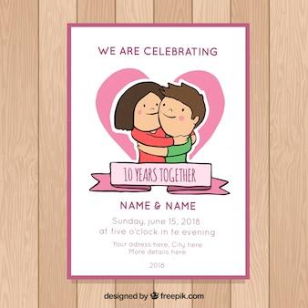 Carte d'anniversaire de mariage wirh couple mignon