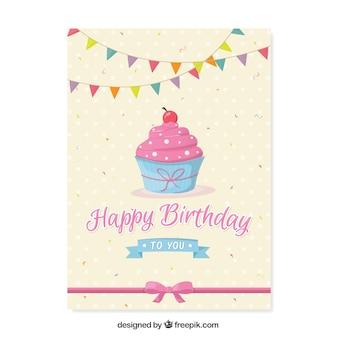Carte d'anniversaire mignon avec le petit gâteau