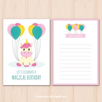 Carte d'anniversaire mignonne avec licorne et ballons