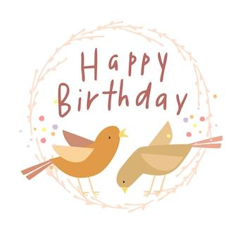 Carte d'anniversaire avec des oiseaux