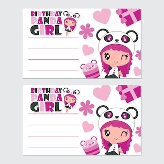 Carte d'anniversaire de panda mignon et dessin animé de vecteur de cupcake