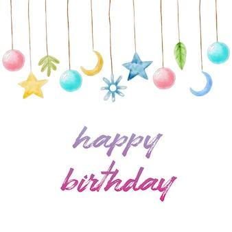 Carte d'anniversaire peinte à la main avec des décorations à l'aquarelle