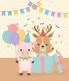Carte d'anniversaire avec des personnages de petits animaux