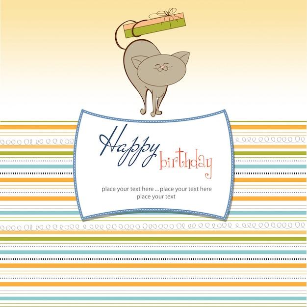 Carte d'anniversaire avec petit chat