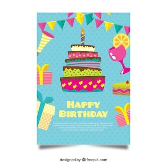 Carte d'anniversaire plat avec un gâteau
