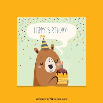 Carte d'anniversaire plat avec un ours
