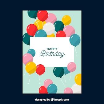 Carte d'anniversaire plate avec des ballons