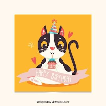 Carte d'anniversaire plate avec un chat