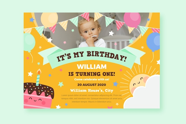 Carte d'anniversaire pour enfant pour fête de bébé
