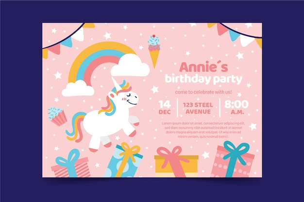 Carte d'anniversaire pour enfants avec licorne