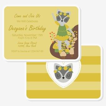 Carte d'anniversaire avec raton laveur mignon