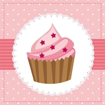 Carte d'anniversaire rose avec illustration vectorielle cup cake