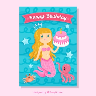Carte d'anniversaire avec sirène