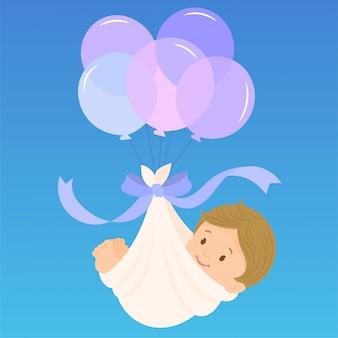 Carte d'annonce d'arrivée de bébé garçon