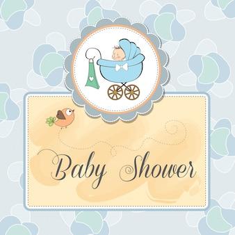 Carte d'annonce bébé avec bébé et poussette