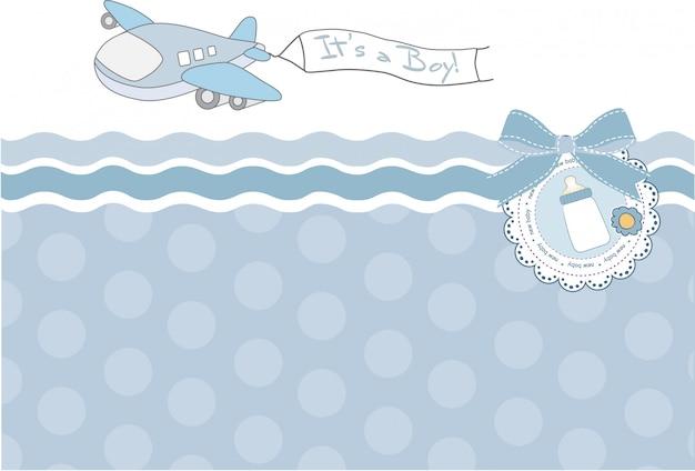 Carte d'annonce de bébé garçon avec avion