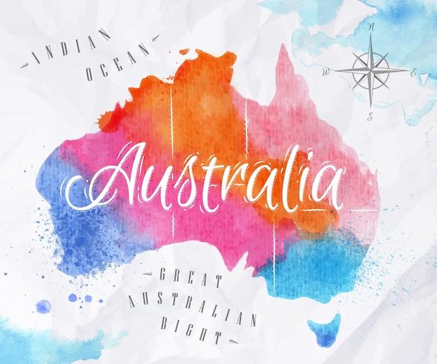 Carte aquarelle de l'australie