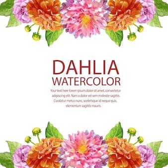 Carte aquarelle dahlia avec bordure horizontale de cadre