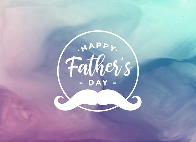 Carte aquarelle fête des pères heureux