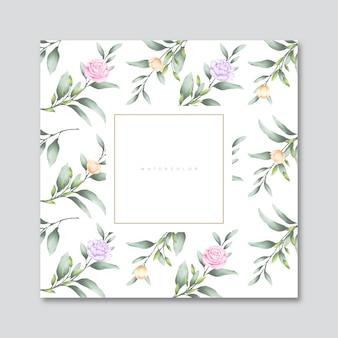 Carte aquarelle feuilles et fleurs