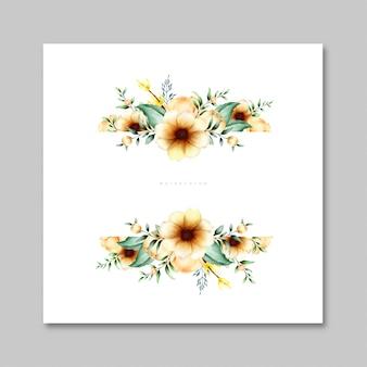 Carte aquarelle avec des fleurs et des feuilles
