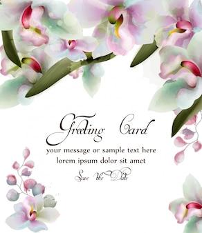 Carte aquarelle de fleurs d'orchidées