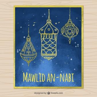 Carte aquarelle mawlid avec des lanternes d'or