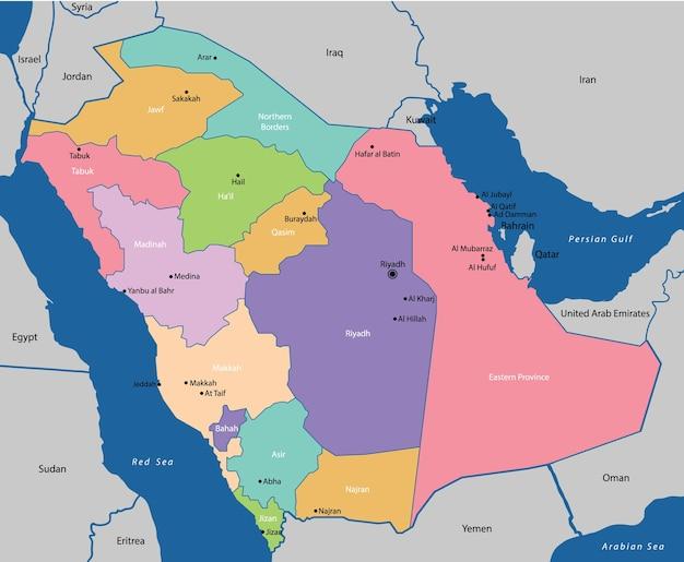 Carte de l'arabie saoudite