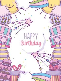 Carte arc-en-ciel de chapeau de gâteau de décoration de fête de joyeux anniversaire