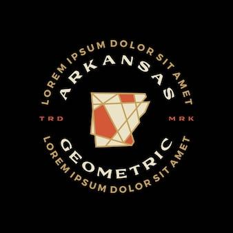 Carte de l'arkansas badge géométrique t shirt tee merch logo icône vector illustration